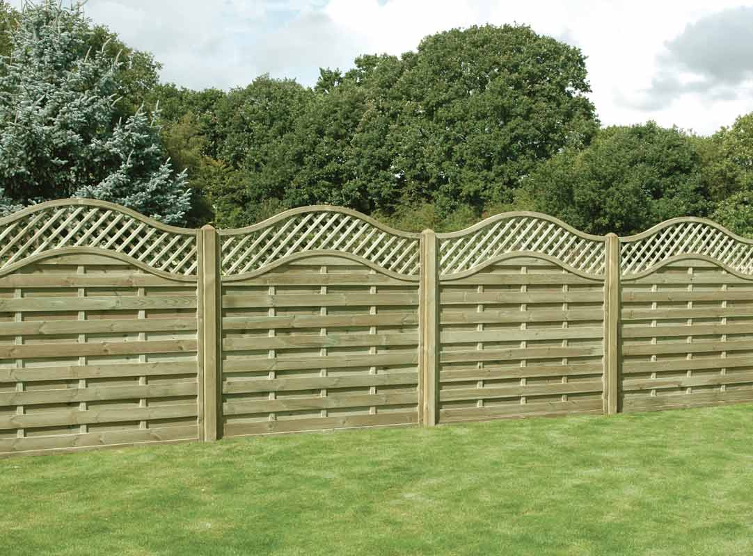 Omega lattice top timber panel garden fencing for Using lattice as fencing