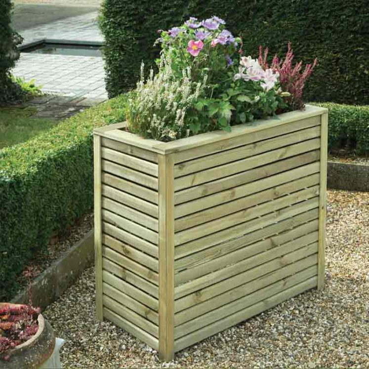 Slatted Rectangular Planter
